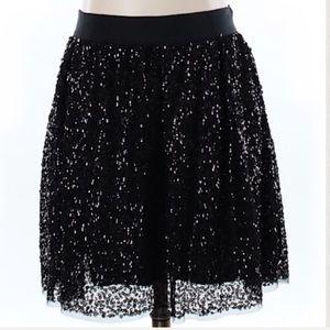 J. Crew black sparkly sequined skater skirt