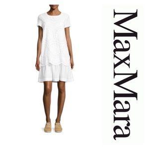 New Max Mara Mania Embroidered Dropped-Waist Dress