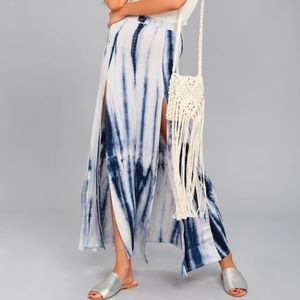 Dresses & Skirts - Blue Tie-dye Print Jersey Knit Maxi Skirt