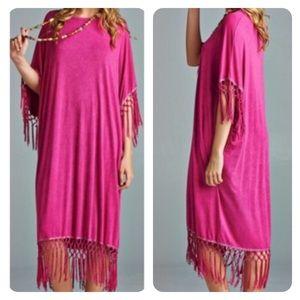 Dresses & Skirts - ➕Bohemian Mulberry Dress with Fringe Trim 💜