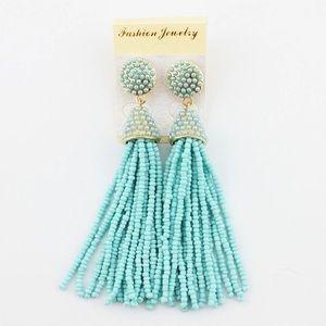Jewelry - NEW Sky Blue Turquoise Piñata Tassel Drop Earrings