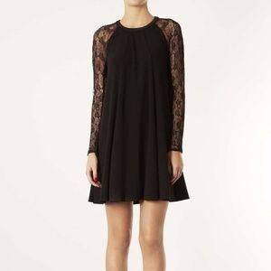 Topshop Long Sleeve Lace Swing Shift Black Dress