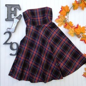 J. Crew plaid strapless dress
