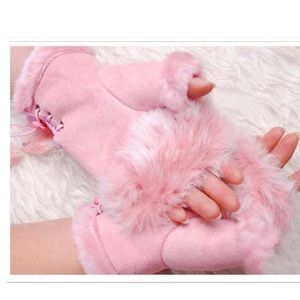 Winter Faux Fur Fingerless Gloves
