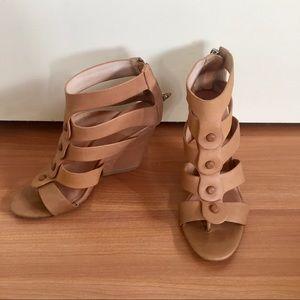 L.A.M.B. Nude leather Miranda wedge heels