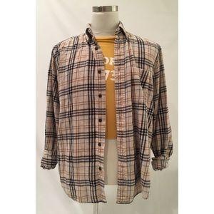 90s Vintage Tan & Black Plaid Flannel