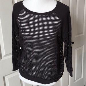 Express Raglan Sleeve Open Mesh Sweater in Black