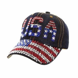Accessories - ***NEW***USA Rhinestone Cap on Distressed Denim
