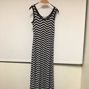 Black and White Striped Long Dress Calvin Klein
