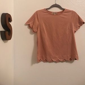 Suede Pink Scalloped Top