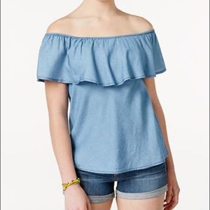 American Rag Off The Shoulder Ruffled Chambray Top