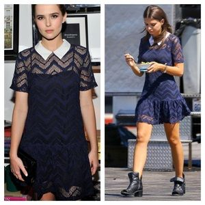 Sandro Rodeo Lace Collared Dress