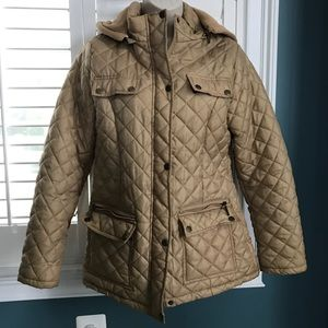 Small Camel Hooded Zip Up Jacket