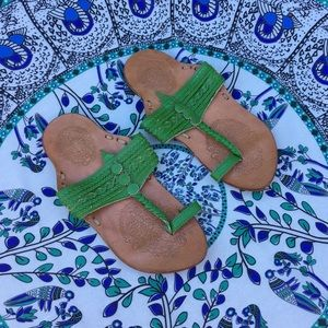 🌱Vintage bohemian green leather sandals🌱