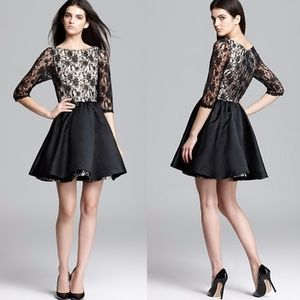 Alice and Olivia b & w lace dress full skirt