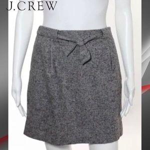 J CREW Gray/Red Tweed Tie Belt Wool A-Line Skirt