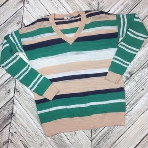 Madewell Striped V Neck Long Sleeve Sweater
