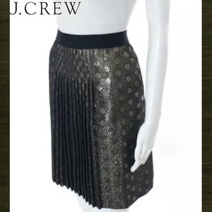 J CREW Classy Blk/Gold Metallic Circle Pleat Skirt