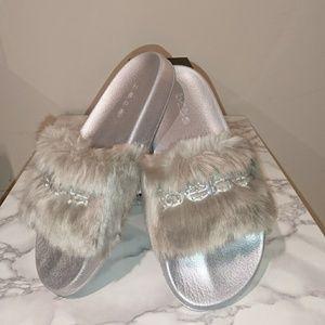 New BEBE Silver Fur slides