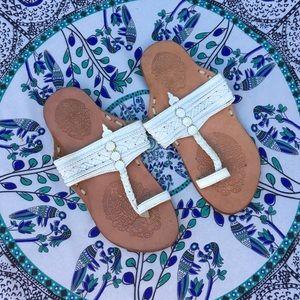 🌱Vintage bohemian white leather sandals🌱