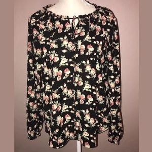 Pleione Black Long Sleeve Floral Blouse Medium