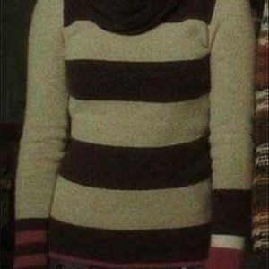 ISO Sweater brown and ivory stripe pink sleeve