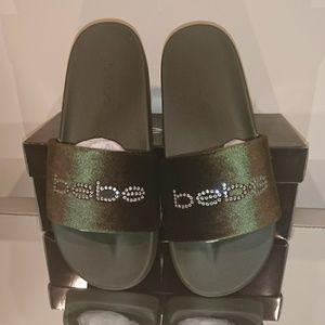 New BEBE army green Velour slides/slippers