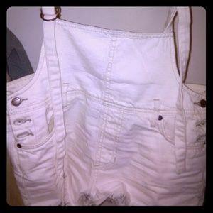 Free people denim cut off overalls