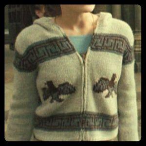 ISO zip up cardigan Aztec print with birds