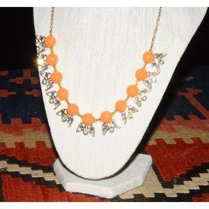 J.Crew Gold Orange Silver Statement Necklace