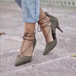 Zara Khaki Green Suede Lace Up Heels