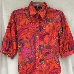 Ralph Lauren Paisley Fitted Top with Full Sleeve