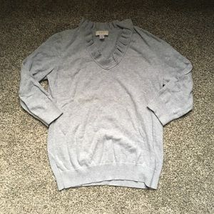 Grey Loft 3/4 Sleeve Sweater with Ruffle Neckline