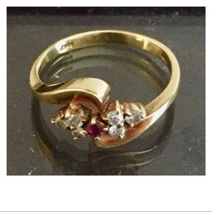 Ruby and Diamond Gold Ring 4.5