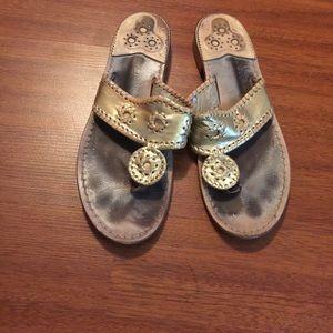Jack Rogers gold sandals! SZ 10!