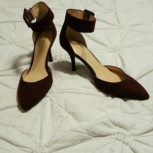 Wine red ankle strap pointed heels