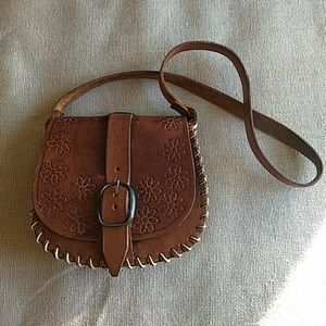70s Boho Hippy Hand Tooled Leather Shoulder Bag