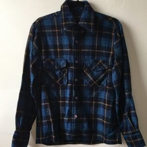 Vintage Blue, Navy and Gold Warm Flannel