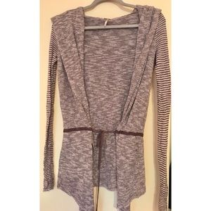 Free People tie cardigan with hood