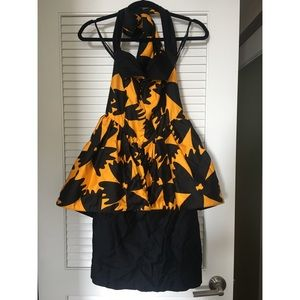 Vintage Lilian Fell Black/Yellow Floral Dress M