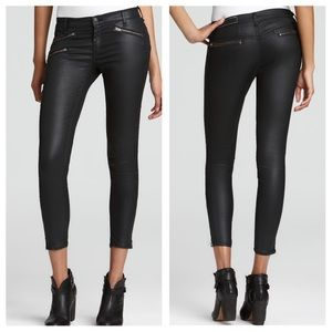 Rag & bone Coated Zip Seal Black Skinny Pants