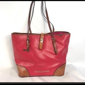 Red leather dooney and Bourke shopper tote