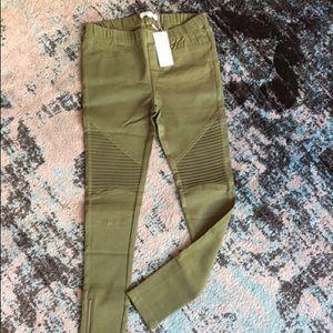 Pants - Army green moto leggings