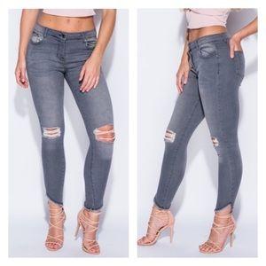 Denim - Gray distressed frayed hem jeans