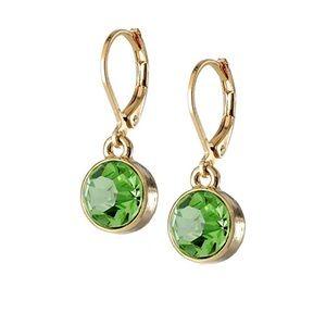 Kate Spade Gold / Green Bezel Drop Earrings