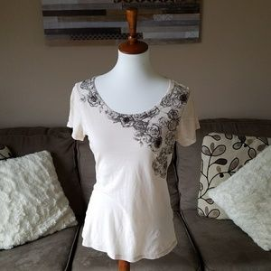 Lucky Brand Cream Floral Tee