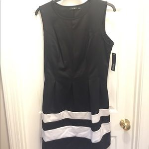 Black Apt 9 Sleeveless Dress with White Stripes