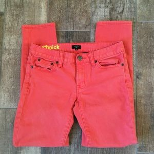 J. Crew Coral Toothpick Skinny Jeans