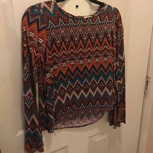 NWT tribal print bell sleeve top