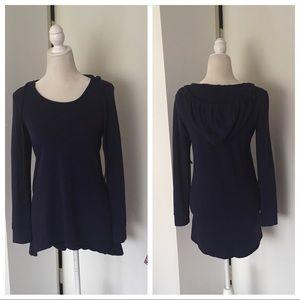 Cynthia Rowley Blue Hooded Long Sleeve Tunic